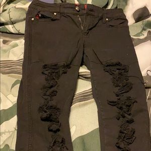 Tripp NYC Black Ripped Fishnet Skinny Jeans